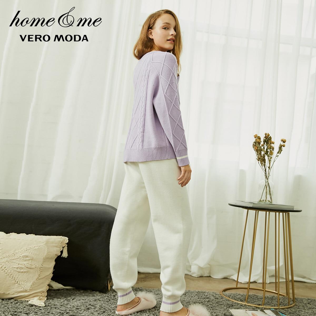 Image 3 - Vero Moda nouveau pull en tricot torsadé jambe pantalon costume homewear  3184K6501-in Ensembles de pyjama from Sous-vêtements et pyjamas on AliExpress
