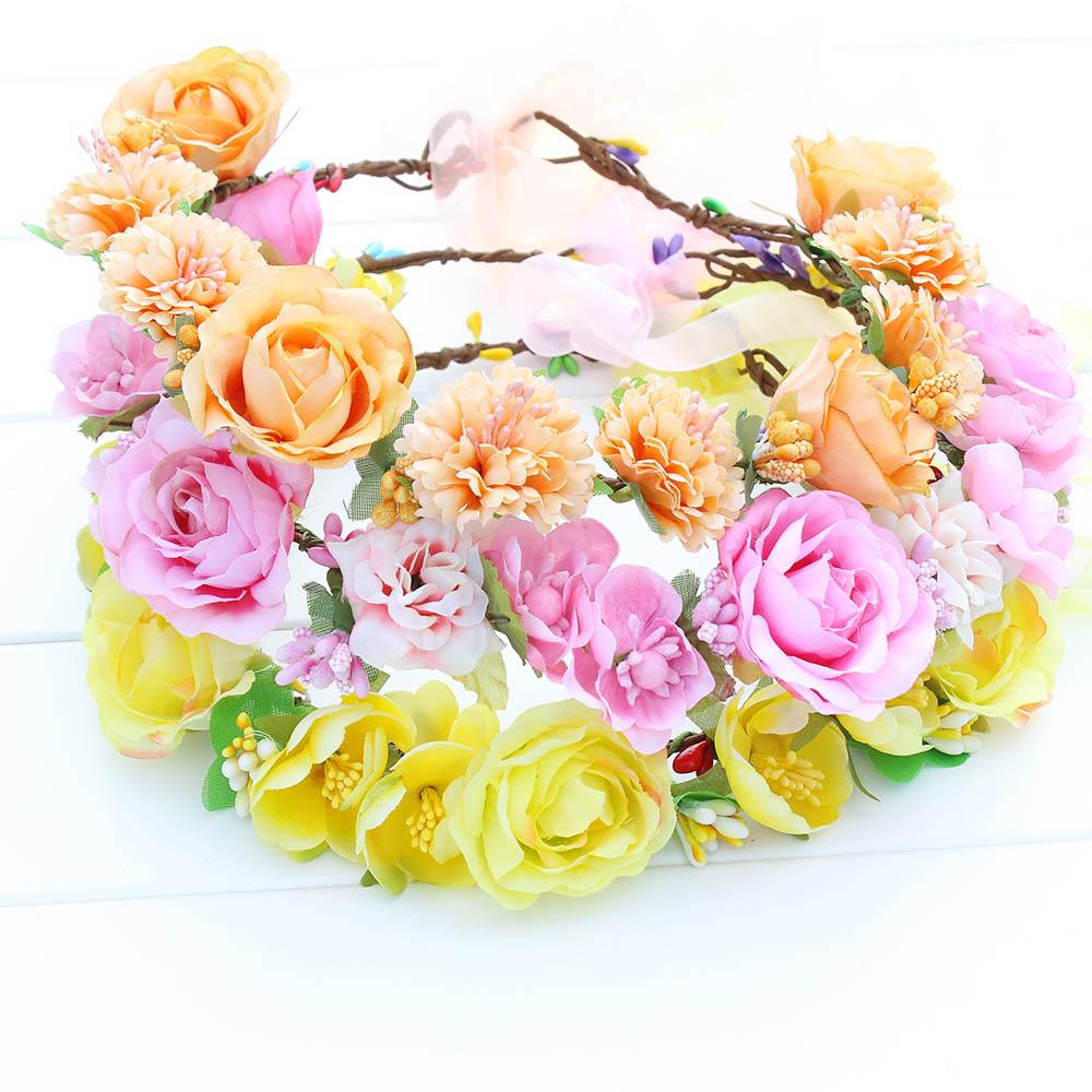 Orange Pink Yellow Rose Fairy Head Garland Women Girls Wedding Party