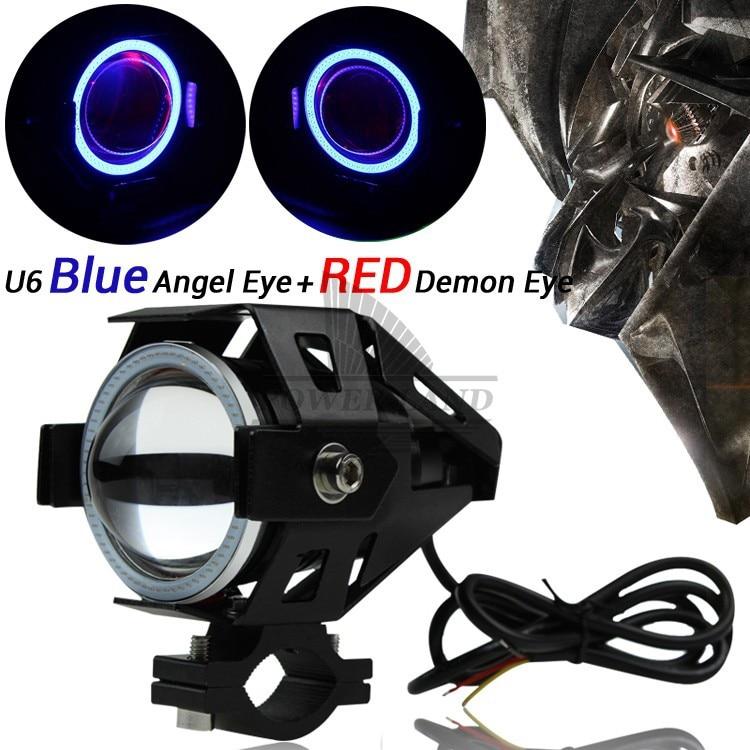Universal Motorcycle Car 15W Projector Fog Light Blue Angel Halo+Red Demon Eyes Strobe Spotlight 3000LMW High/Low Beam Flash DRL