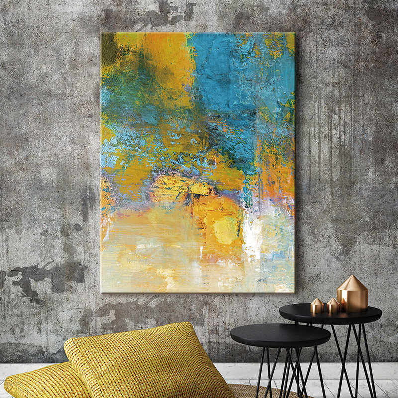 Abstract Art Canvas Paintings Modular Pictures Wall Art Canvas Blue and Yellow for Living Room Decoration No Framed