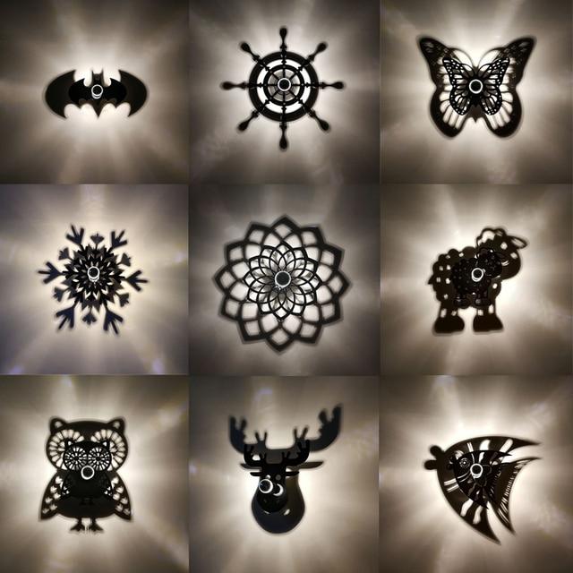 Creative Cartoon LED Wall Lamp Animal Owl Projection Shadow Flower BAT Night Light E27 Warm Blub Home Decorative Acrylic Plate
