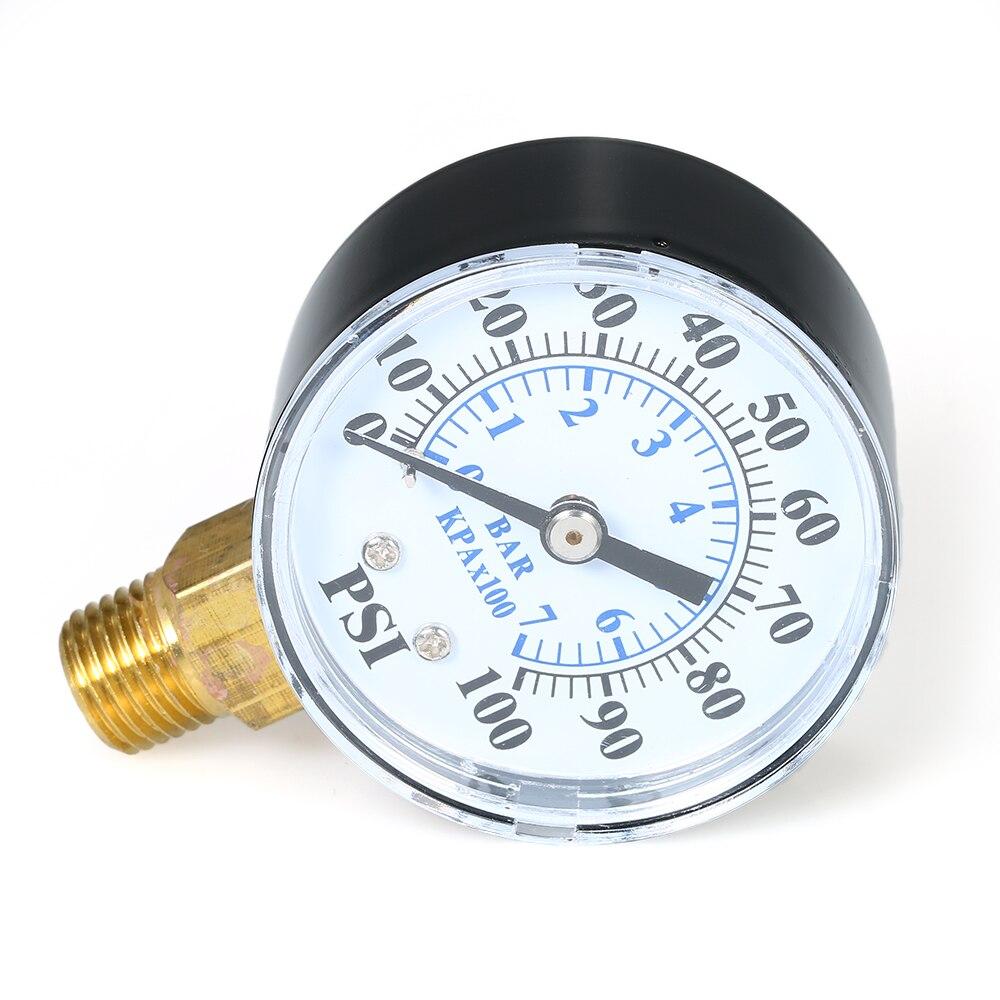 0~100psi 0~7bar Dual Scale Mechanical Pressure Gauge Pool Filter Aquarium Water Air Gas Pressure Gauge Meter 14 inch NPT