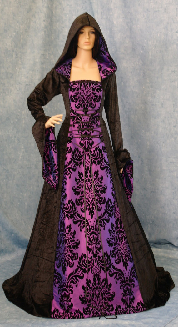 Gothic Dress Medieval Dress Renaissance Dress Hooded Gown Scottish ...
