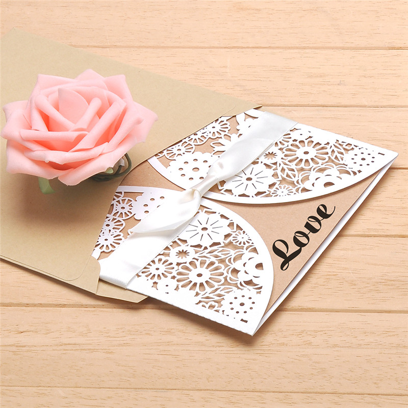 10pcs Hollow Laser Cut Wedding Invitations Card Personalized Custom with Ribbon Free Envelope & Seals wedding decorations 1 design laser cut white elegant pattern west cowboy style vintage wedding invitations card kit blank paper printing invitation
