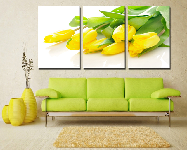 3 Panel Large Modern Wall Art Yellow Tulip Flowers Home Decoration ...