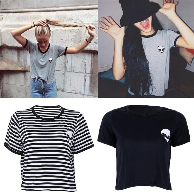 3 Colors New Crop Top   T     Shirt   Women Alien ET Print Copped Top   T  -  shirt   Women Tops Fashion Tee   Shirt   Femme
