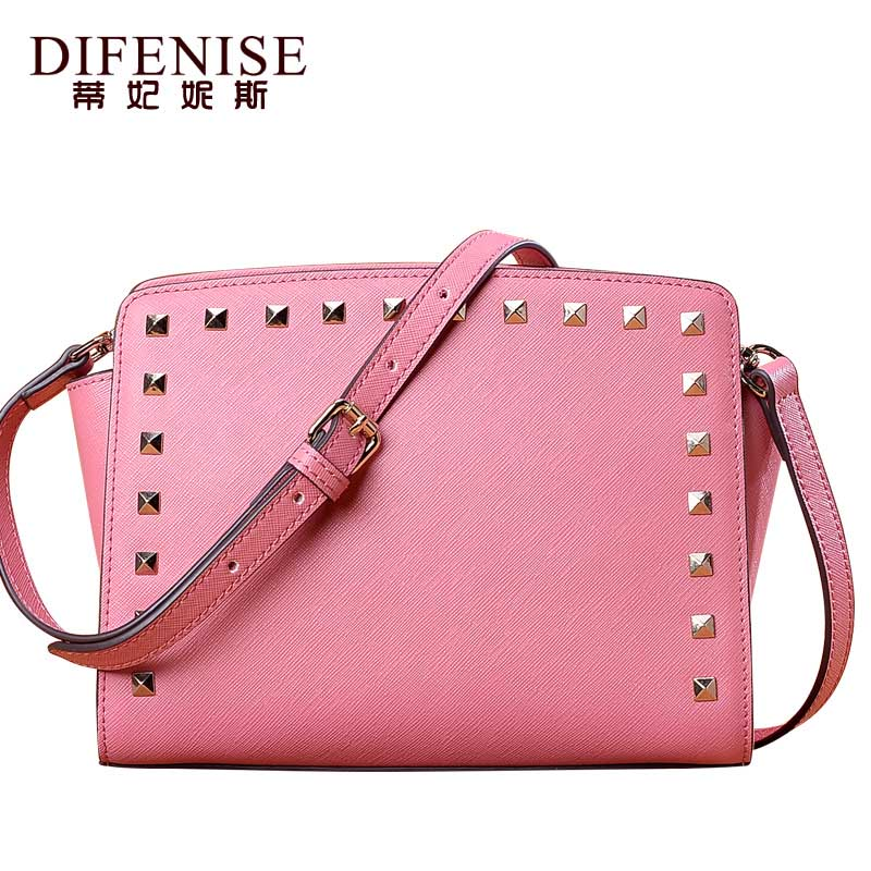купить Difenise Luxury Handbag Designer Women Genuine Leather Chain Shoulder Bag Fashion Small Messenger Bags Rivet Crossbody for Lady по цене 6115.7 рублей
