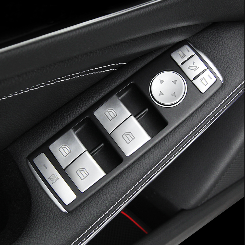 Chrome car window lift switch button cover for mercedes benz a b c w204 e w212 gla cla glk gl ml gle class accessories