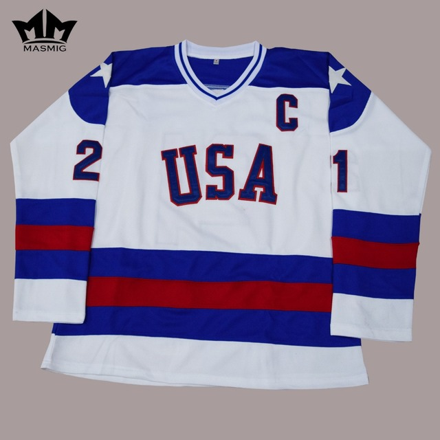 ... MM MASMIG Mike ERUZIONE USA Hockey Jersey 21 1980 Miracle On Ice 6d32bdae4