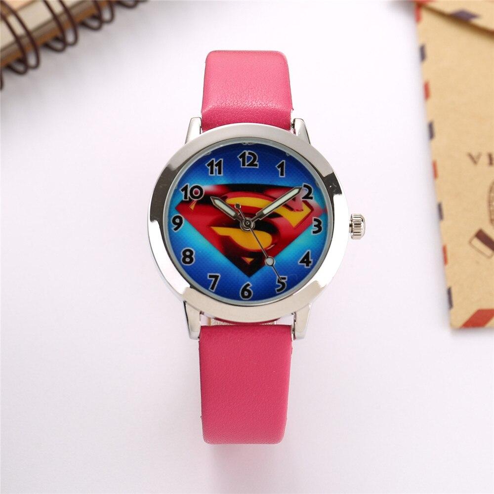 Fashion Pink Leather Children Watch Kids Quartz Watches Student Boys Girls Cute Wristwatch Casual Cartoon Clock Montre Enfant