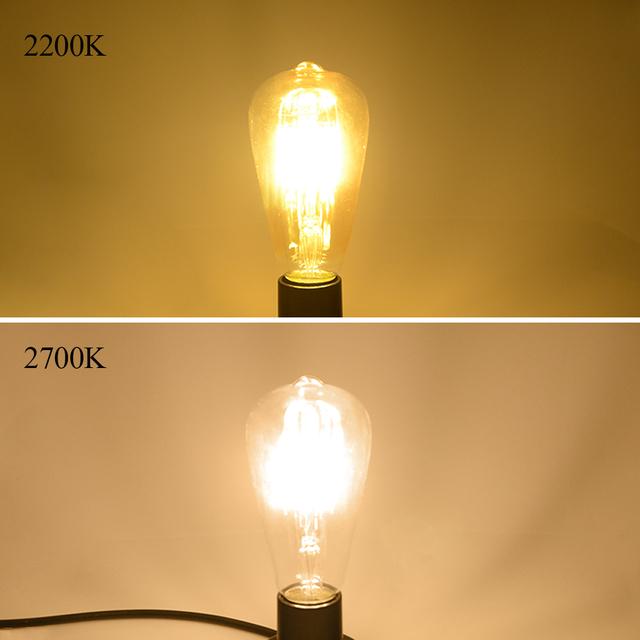 Foxanon 4W 6W 8W Dimmable COB LED Vintage Filament Retro Edison Bulbs 220V 110V ST64 2200K 27000K Filament Lamp Vintage Lighting