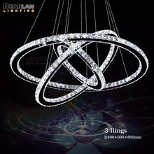 Modern 3 Rings LED Pendant Light With Remote Control Stainless Steel Circle Crystal Hanging Lamp for Living Room Bedroom