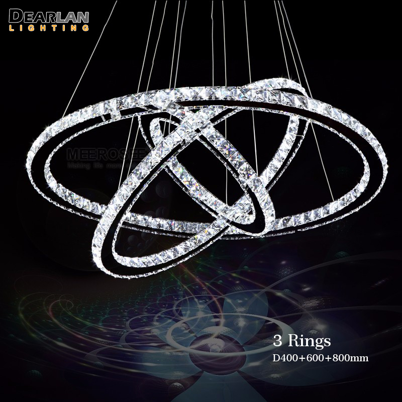 Modern 3 Rings LED Pendant Light With Remote Control Stainless Steel Circle Crystal Hanging Lamp Light for Living Room Bedroom