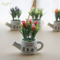 Loveplus Artificial Flowers Potted Silk Tulip Bonsai Decorative Plant Wedding Decor With Ceramics Vase 1 Set