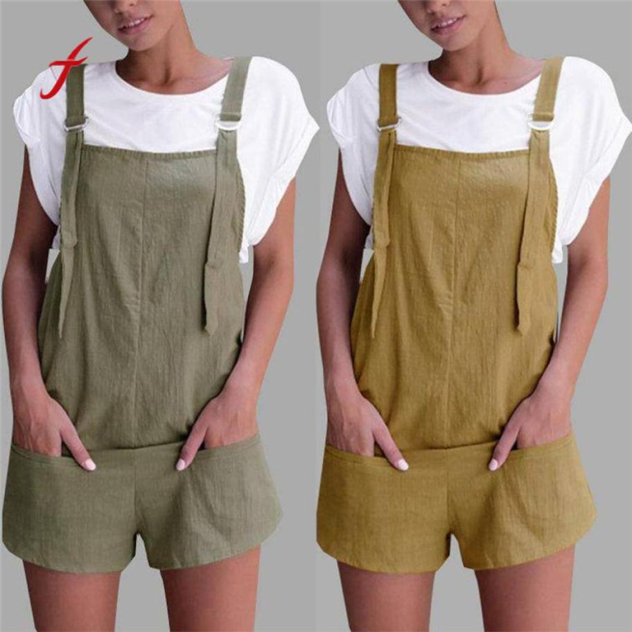 Women Elastic Waist Dungarees Linen Pockets Rompers Playsuit Shorts Cotton Solid Loose Womens Summer Zaful Jumpsuit #by