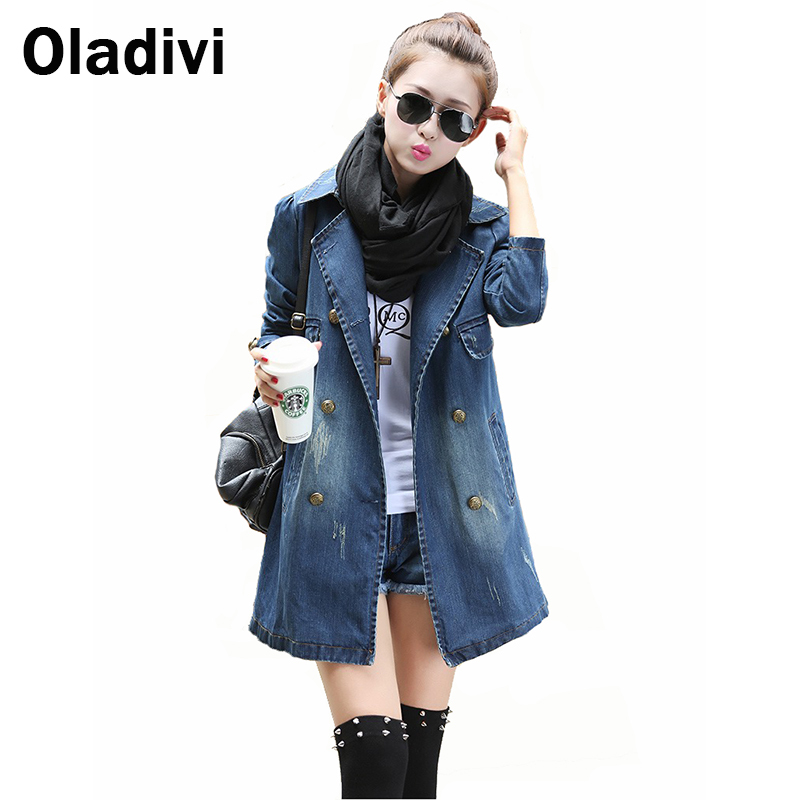 Casual Women Clothing 2016 European American Denim Jacket Long Sleeved Jeans Coat Female Overcoat Girl Blazer Outerwear Blue - Oladivi official store