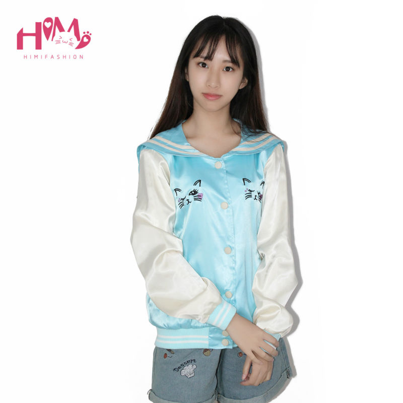 New Fashion Ladies Sky Blue All-match Cat Embroidery Thin Coat Female Loose Pink Autumn Spring Jacket Women Sailor Collar