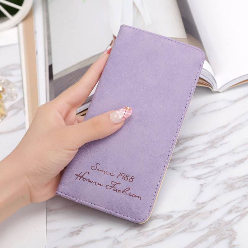 Arsmundi New Women Long Wallet Leather Ultra-thin Personality Tide Purse Soft Face Matte Retro Money Clutches Wallet Female