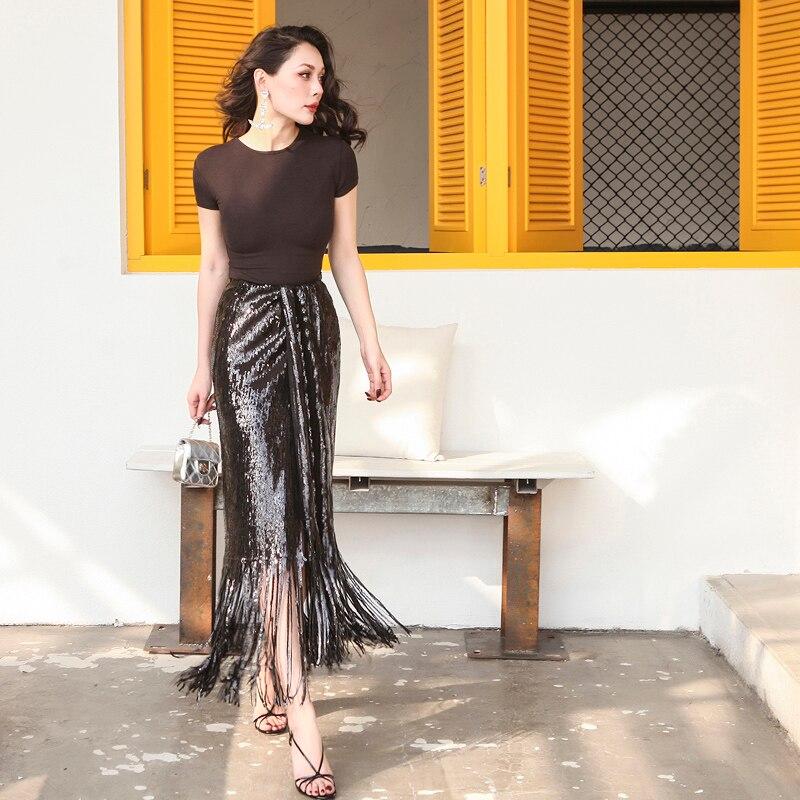 Diseñado Slim 2019 Cintura Verano Negro Elástico Borlas Alto Dazzle Talle Ha De Elegante Falda Lápiz Corte HwT1HWqp8