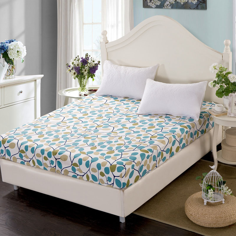 Comwarm Briefly Plants Printed Mattress Cover Floral Geometric Solid Color Fitted Sheet 100% Cotton Colorful Hospital Bed Sheet