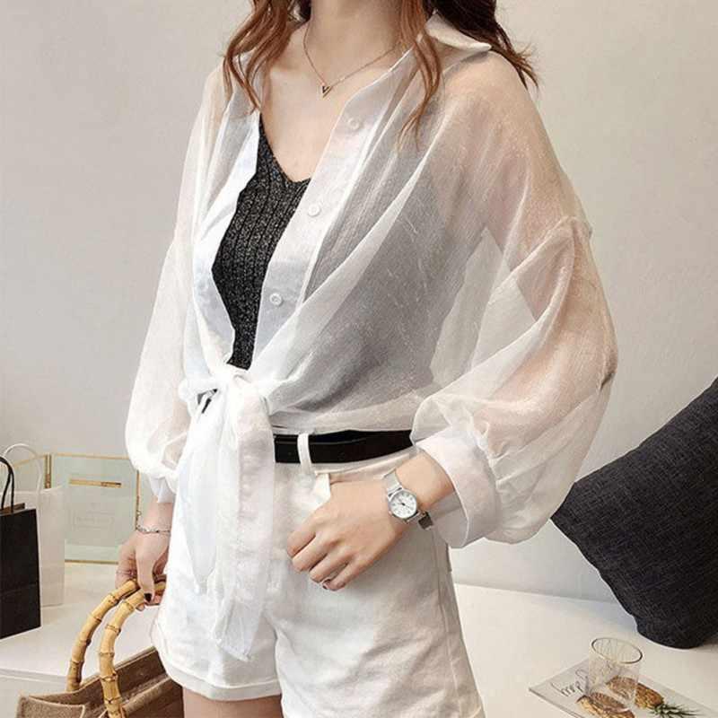 Женский шифоновый кимоно кардиган свободный длинный рукав короткая блузка на шнуровке перспективная рубашка Летняя Пляжная однотонная накидка плюс размер