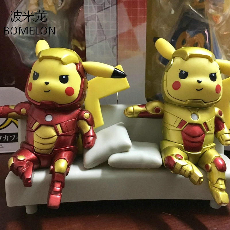 13CM Pikachu Toy Figures Pikachu Cosplay Iron Man Action Figure Anime Pocket Monster PVC Dolls Kids Toys for Boys Birthday Gift 6pcs set disney toys for kids birthday xmas gift cartoon action figures frozen anime fashion figures juguetes anime models