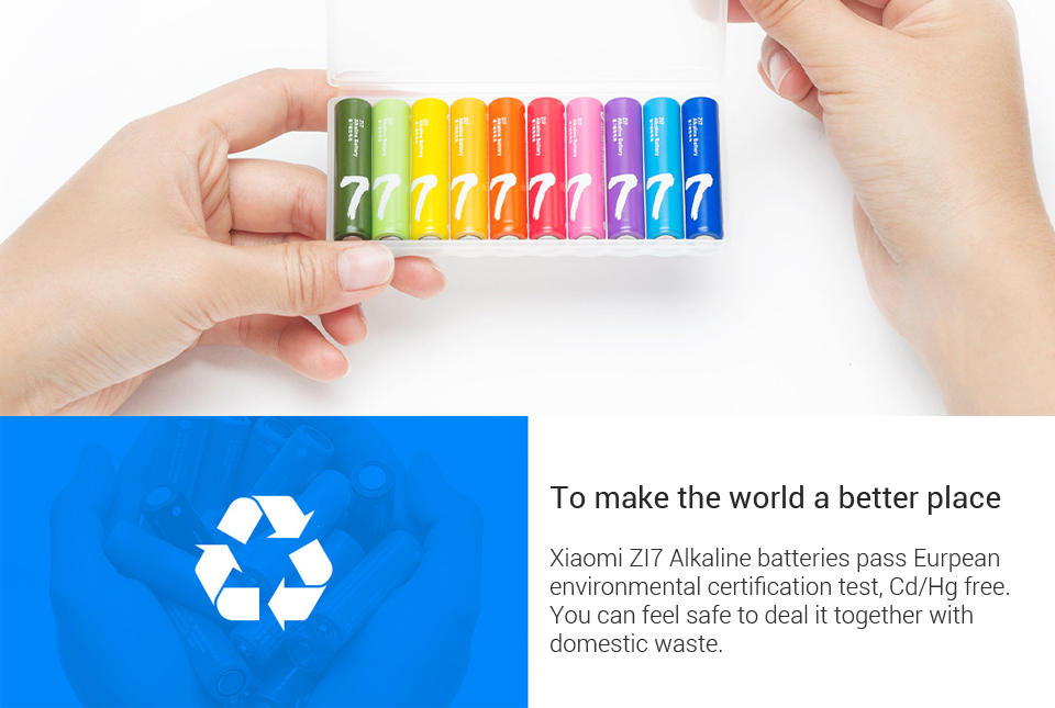 10PCSLot XIAOMI ZMI ZI7 AAA Alkaline Battery Rainbow Disposable Batteries Kit for Camera Mouse Keyboard Controller Toys xiom H0 (7)