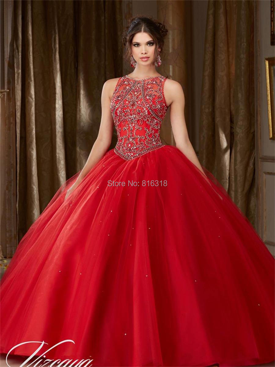 Red Quinceanera Dresses With Open Back Rhinestone Beaded Ball gown ...