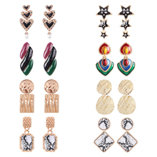 Lalynnly ZA Various Style Jewelry Charm Drop Dangle Earrings Fashion Matel Irregular Pendant Earring For Women Party Gift 2018