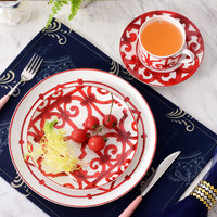 British Europe Bohemia red dinnerware set fine bone china coffee cup set steak dish salad plate set