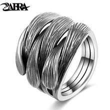 ZABRA Real Sterling Silver 925 Men Women Ring Adjustable Vintage Black Punk Rock Intertwine Open Rings For Men Female Jewelry