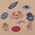 DOUBLEHEE 058 Red Nail Mão Olhos Patches Iron On Ou Sew Tecido Etiqueta Para Roupas Crachá Apliques Bordados DIY