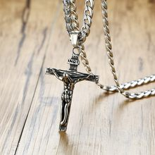 Mens Stainless Steel Gold Silver Cuban Jesus Cross Crucifix Pendant Necklace Chain Link Male Accessories(China)