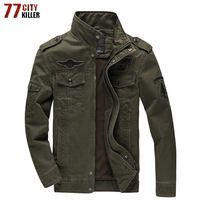 77City Killer Army Military Jacket Men Plus Size 6XL Cotton Stand Collar Male Casual Air Force Flight Jacket Jaqueta masculina