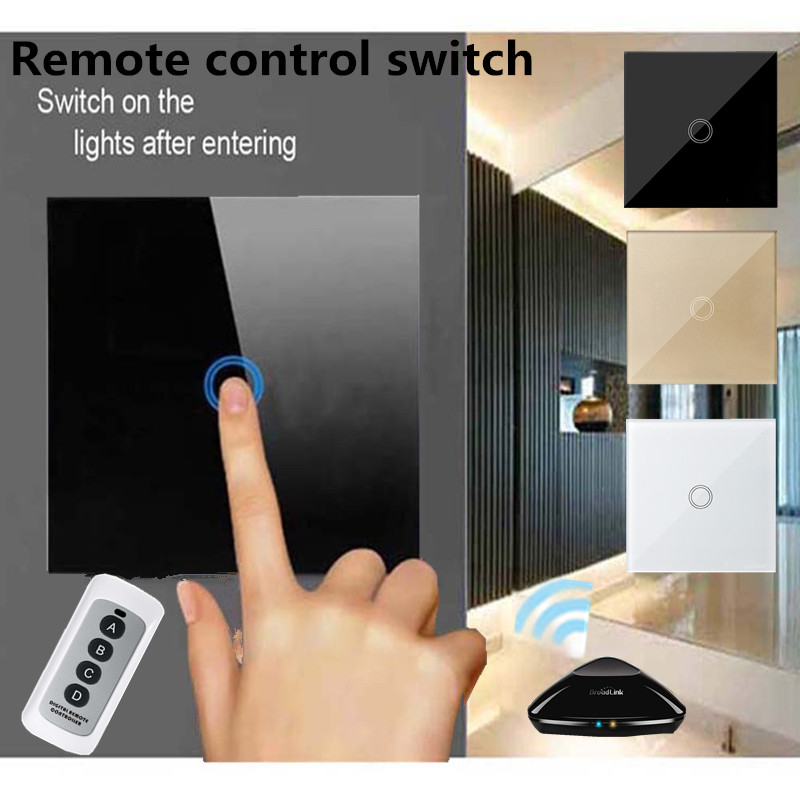 EU/UK Standard Light Switch,1 gang 1 way Glass Panel  Remote Control touch screen switch+LED Blue Indicator RF433 Smart home mvava 3 gang 1 way eu white crystal glass panel wall touch switch wireless remote touch screen light switch with led indicator