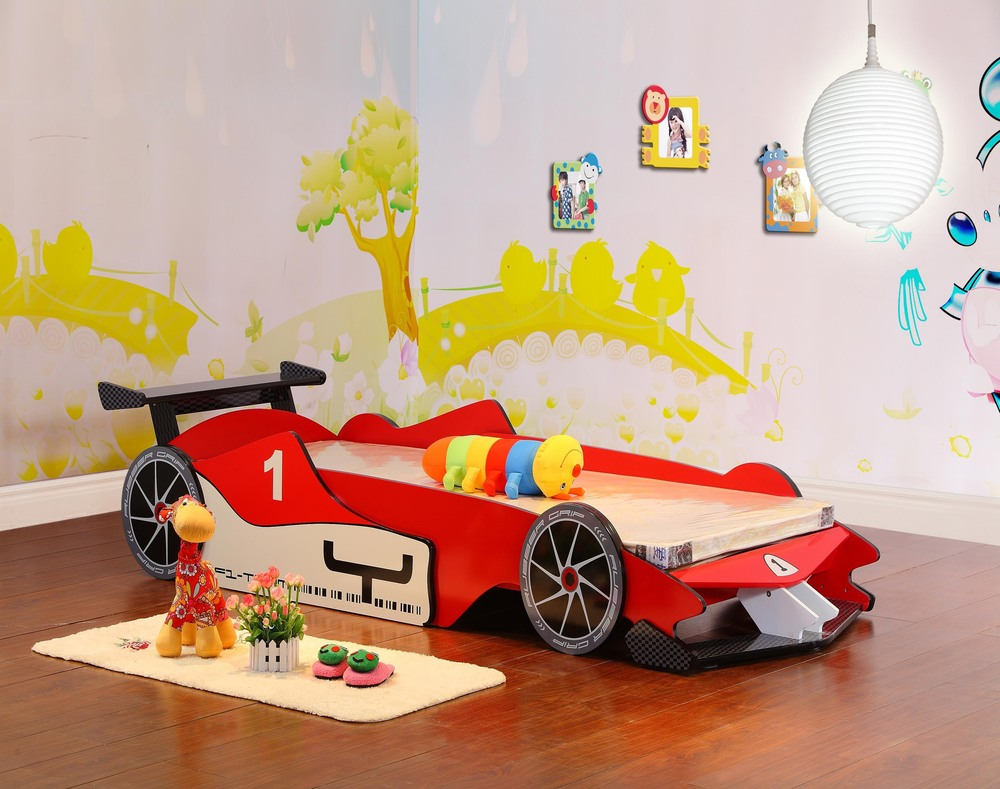 Wooden car beds for boys -  Free Shipping Real Wood Export Run Children Bed F1 Racing Car Bed Bed Lathe Bed