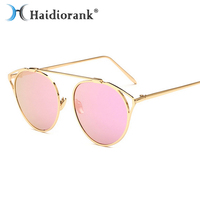 Cat Eye Sunglasses Women Brand Designer 2017 Vintage Retro Mirror Sun Glasses For Women Top Pink Metal Female Luxury Candies