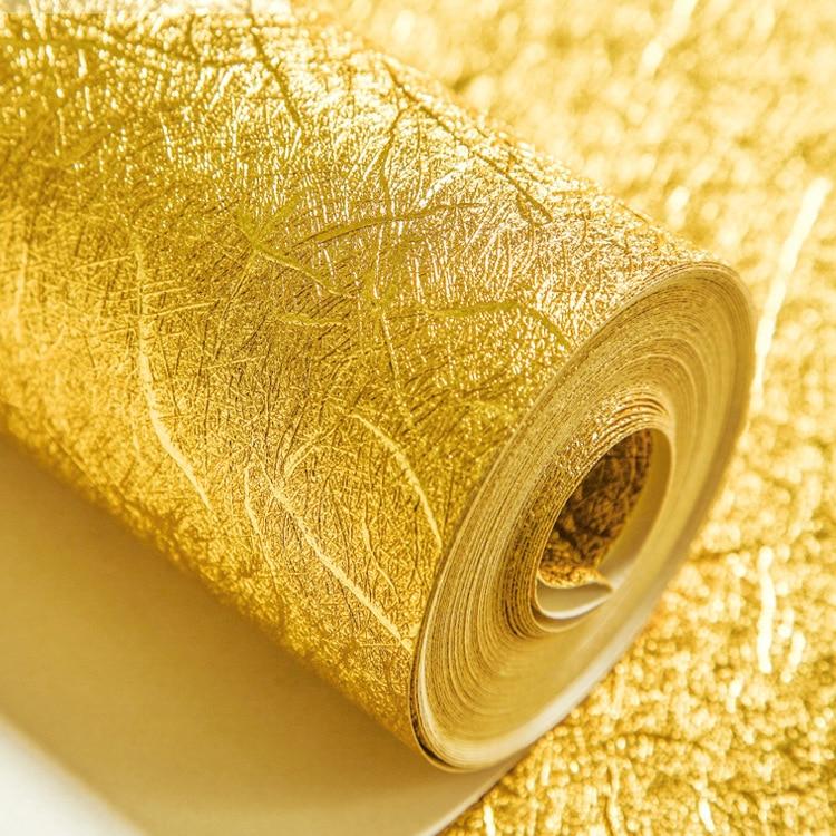 11 yards Or Feuille D'argent Papier Peint Épais Étanche Pvc Autocollants Papier Peint pour Salon Rénovation de Meubles PVC Papier Peint