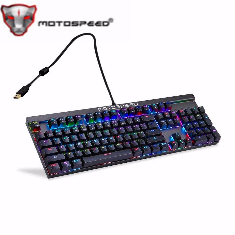 Motorspeed CK103 Wired 104 Keys RGB Mechanical Keyboard USB2.0 14 Modes LED Backlight Gaming Keyboard for Teclado Gamer PK CK104 ...