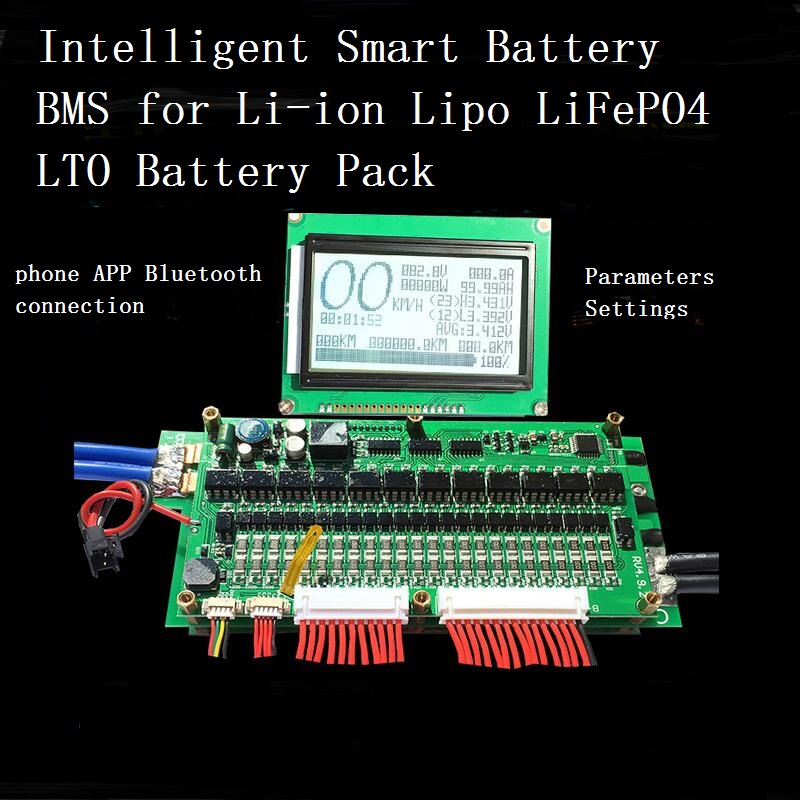 70A 100A 150A 200A 300A Bluetooth Battery BMS With LCD Displaly 8S 24S LiFePo4 7S 24S