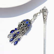 2019 Womens Ethnic Blue Bell Hairpins Indian Jewelry Traditional Hollow Tassel Hair Sticks Fashion Hairwear