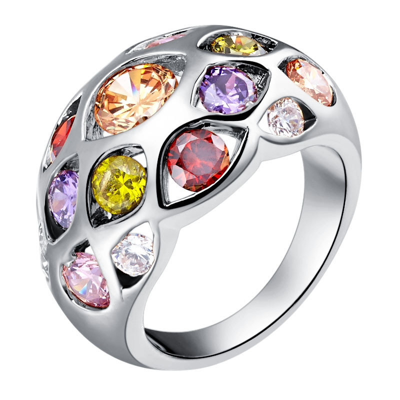 Fashion Colorful Austrian Crystal Rings for Women Men Ring Rose Gold Color Simulation Gemstones Engagement Rings Wo