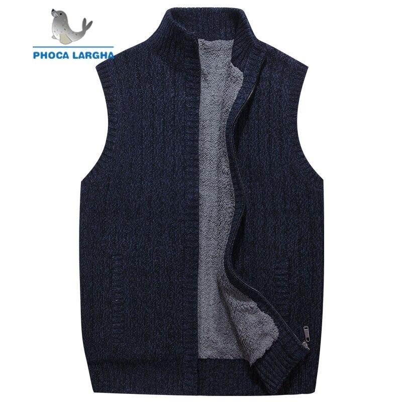 Hommes laine chandails gilet Cardigan Homme chaud chandail affaires décontracté sans manches tricoté gilet veste solide polaire Sweatercoat Homme