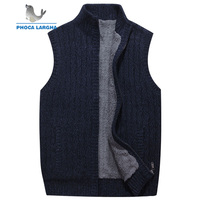 Men Wool Sweaters Vest Cardigan Male Warm Sweater Business Casual Sleeveless Knitted Vest Jacket Solid Fleece Sweatercoat Homme