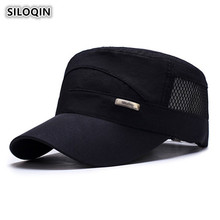 SILOQIN Summer Mens Mesh Cap Ultralight Breathable Military Hats Adjustable Size Brand Flat Top For Men Snapback Dads Caps
