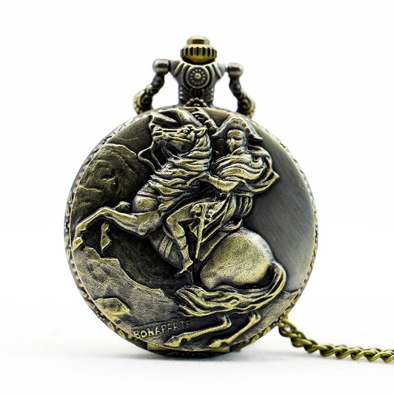 Retro Steampunk Bronze Napoleon Horse Pendant Chain Quartz Pocket Watch Men Women Gifts retro compass vintage bronze steampunk quartz necklace pendant chain clock pocket watch men women gifts