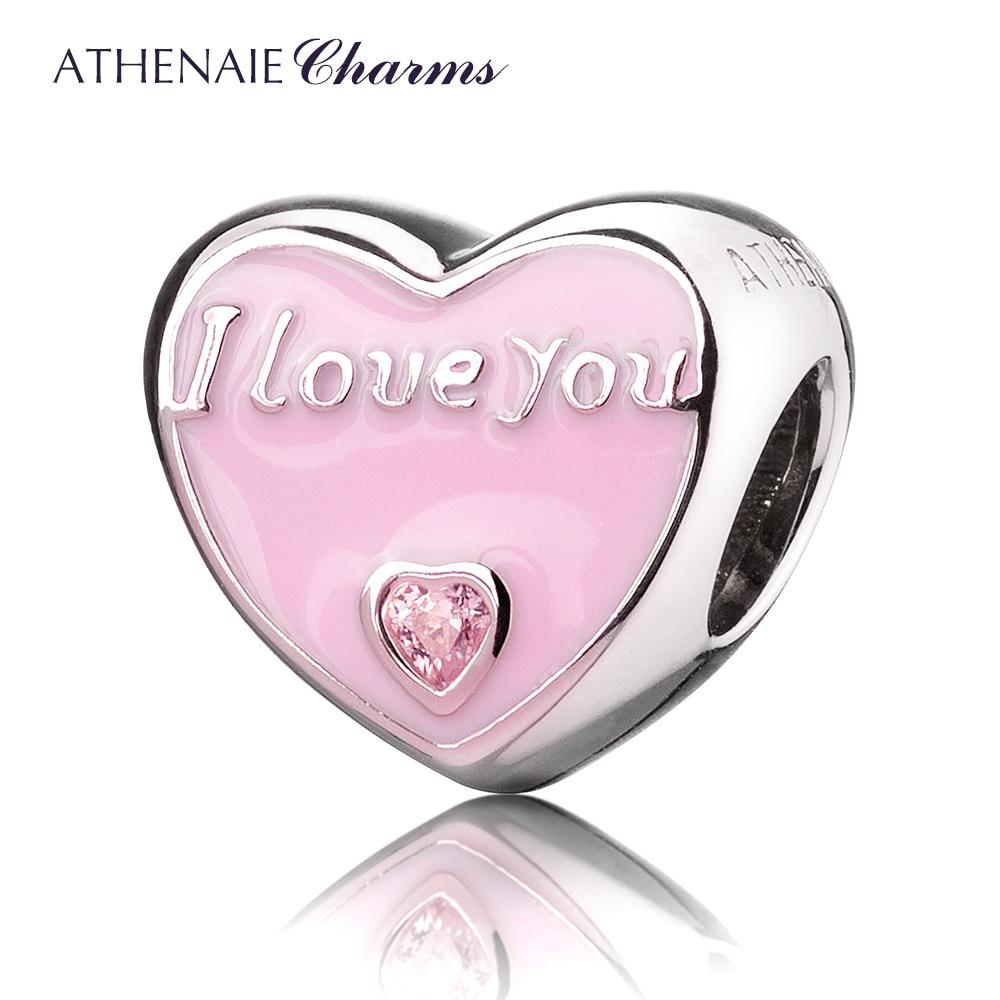 купить ATHENAIE 925 Sterling Silver Romantic Pink Enamel CZ I Love You Everyday Charm Beads Fit All European Bracelets Necklace по цене 1546.94 рублей
