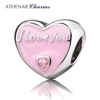 ATHENAIE 925 Sterling Silver Romantic Pink Enamel CZ I Love You Everyday Charm Fit All European
