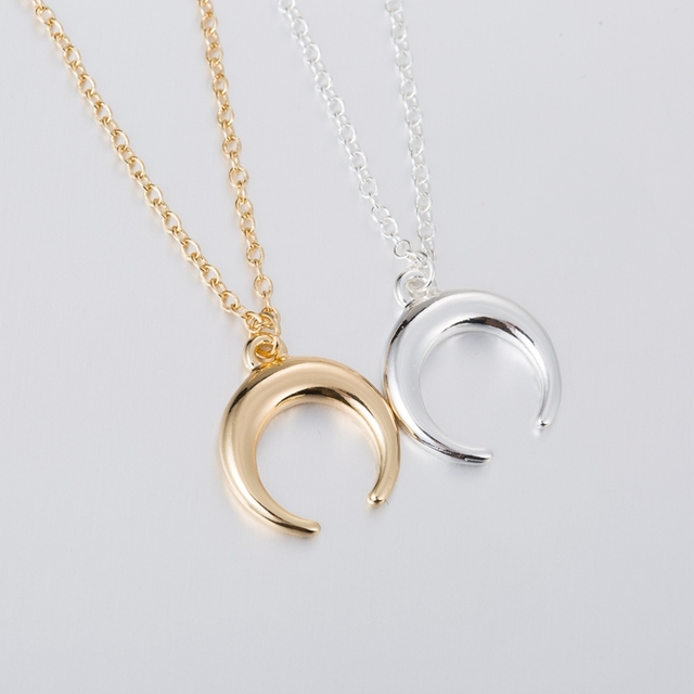 e51a51fd5a0cd US $1.42 25% OFF Hfarich Statement Gold Horn Necklace maxi Long Crescent  Moon Necklace Double Horn Necklace For Women Charm Jewelry Dropshipping-in  ...
