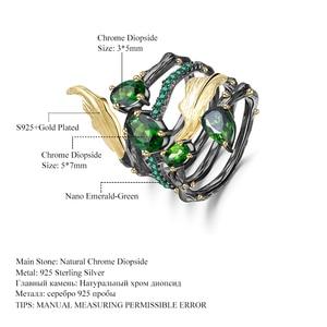 Image 5 - GEMS בלט 2.57Ct טבעי Chrome Diopside חן אצבע טבעת 925 סטרלינג רסיס עלה להקת טבעות לתכשיטי נשים
